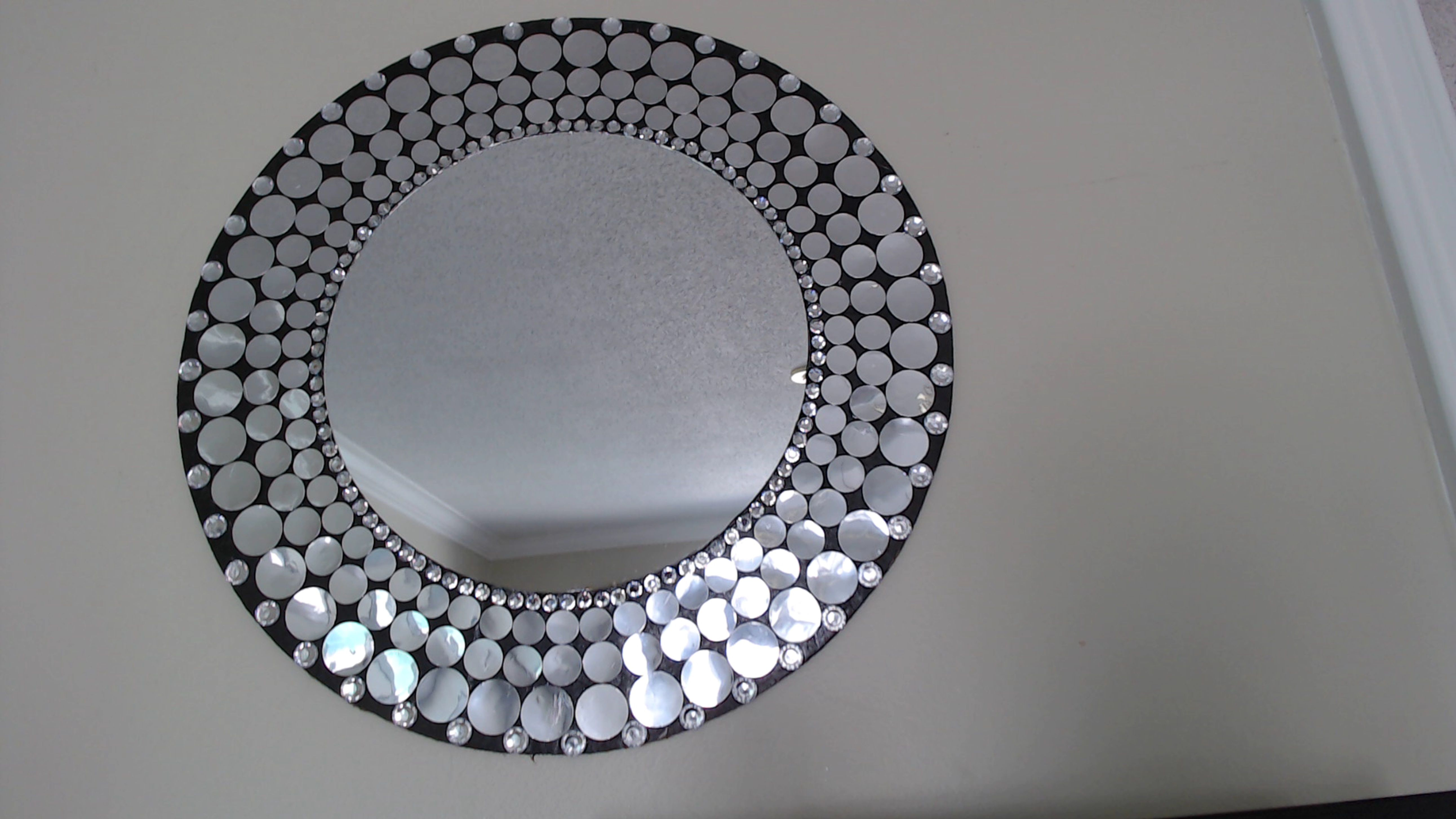 This Is A 16 Inch Mirror Wall Decor Accessorized With Small Faux Mirrors Gems On A Foam Board Mirror Wall Decor Mirror Mirror Decor