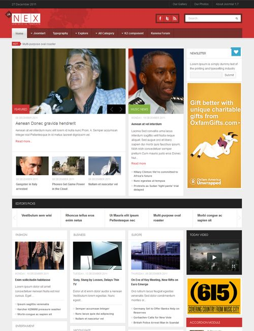 JA Nex - Joomla! 2 5 template for newspaper and magazine