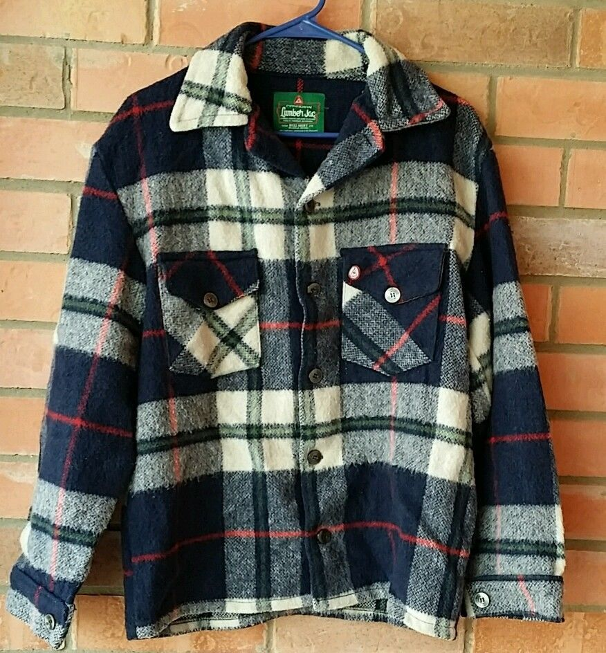 Mens Quilt Cotton Lumber Jack Flannel Work Jacket Coat Long Sleeve Shirt Pockets