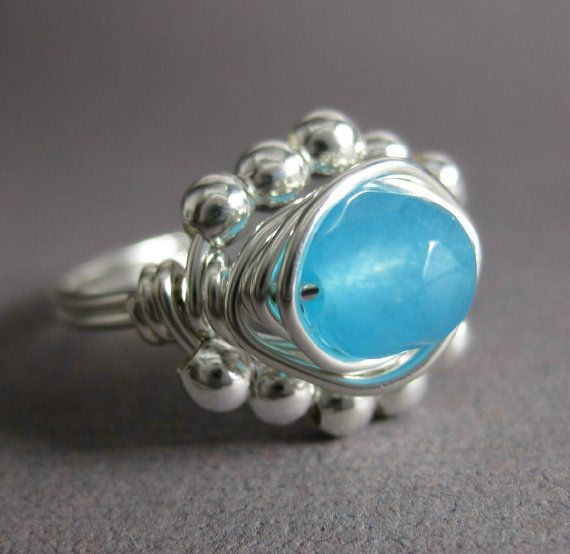 Blue Chalcedony Ring Wire Wrapped Sterling Silver by holmescraft, $25.00