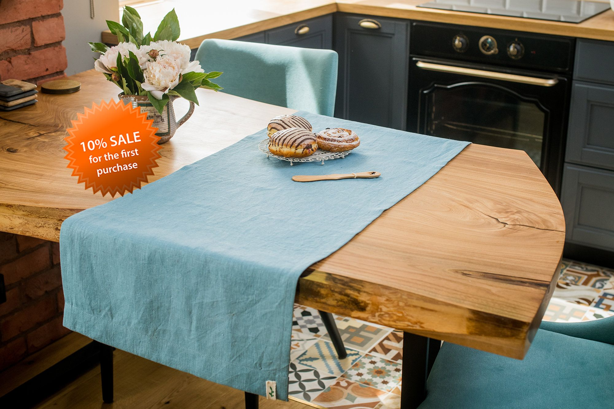 Blue table runner table cloth blue table runner kitchen decor ideas