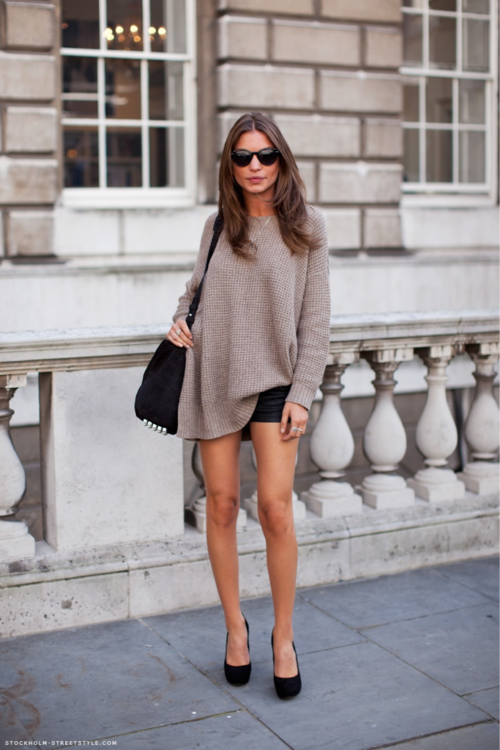 Casual Knit, Black Shorts and Simple Black Pumps | Dress ...
