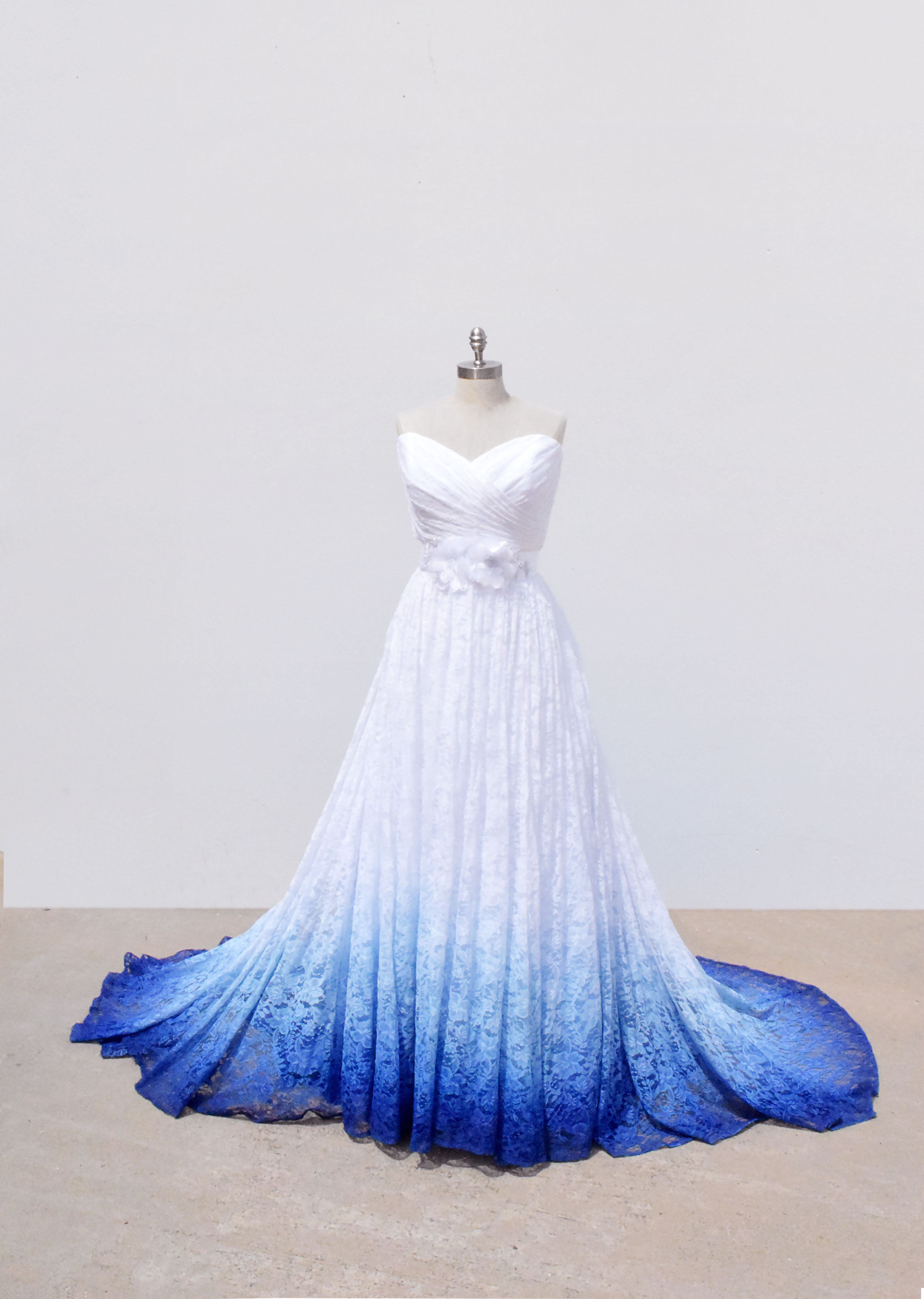 Something blue lace bridal gown with color light blue wedding