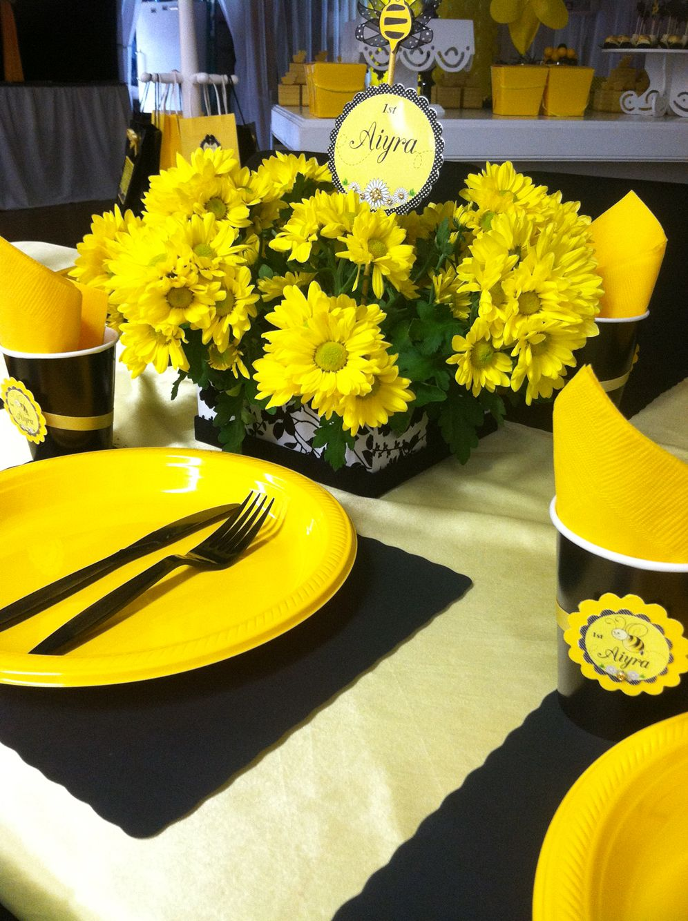 yellow centerpiece arrangement garden