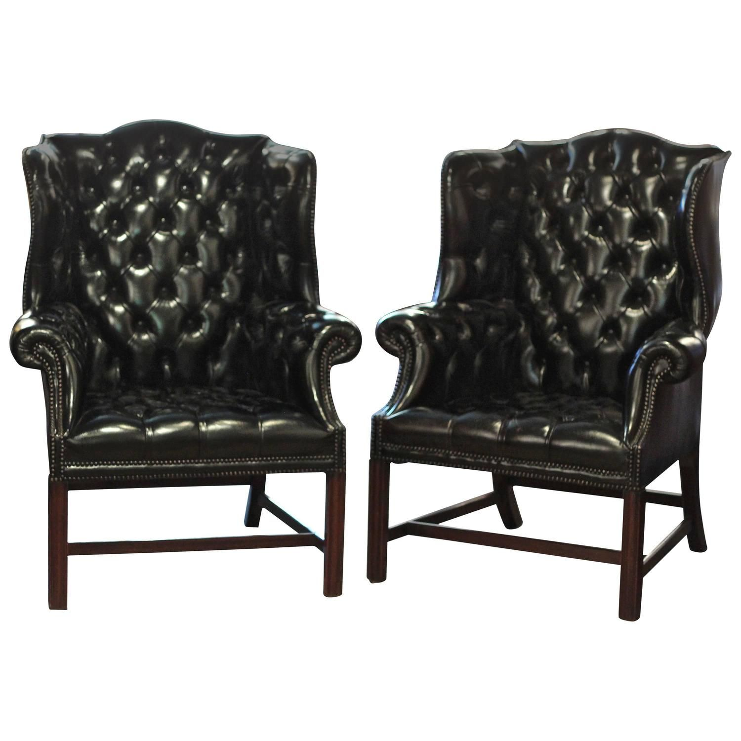 Pair Of English Black Leather Wing Chairs Chairs And