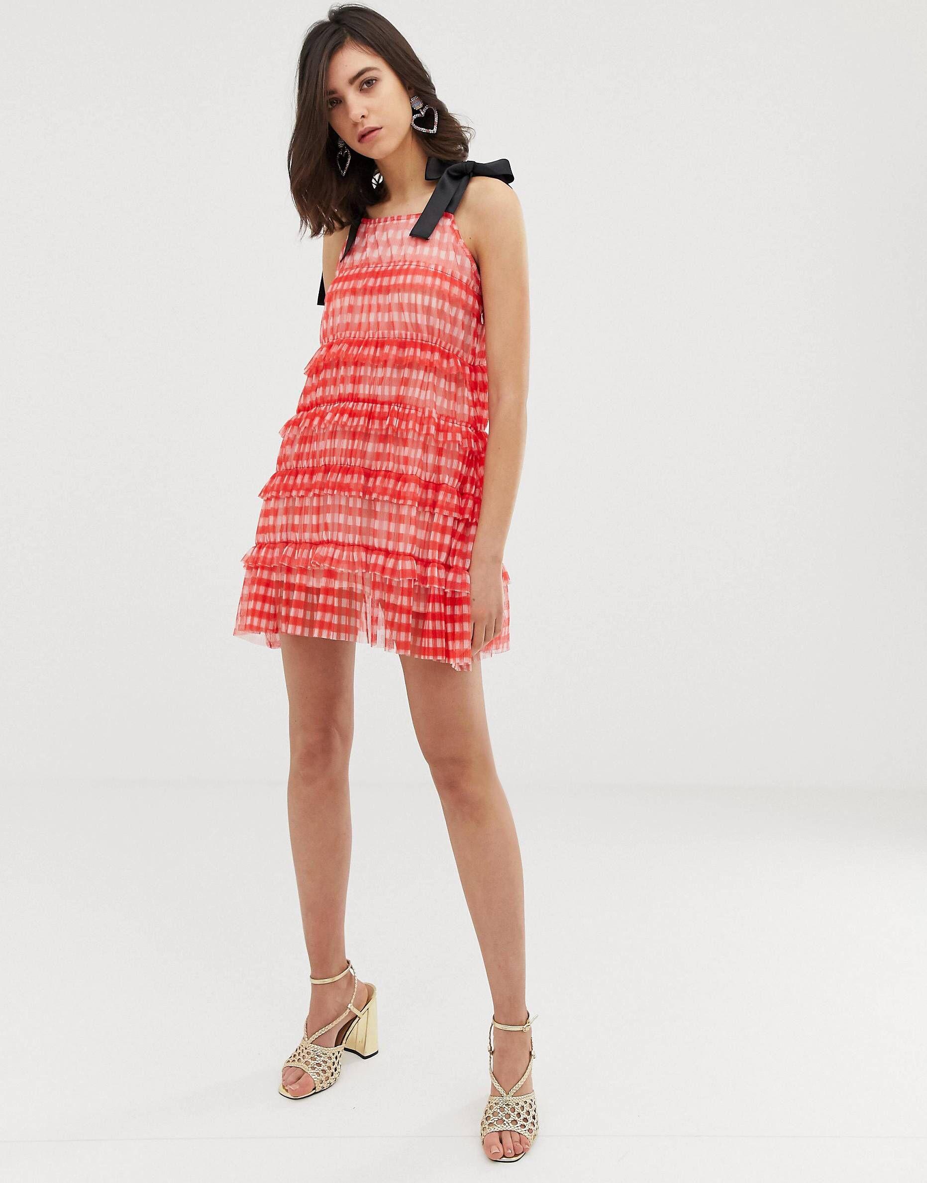 6a2b1b5756 Mode Online, Swing Dress, Gingham, Contrast, Fashion Online, Asos, Shoulder