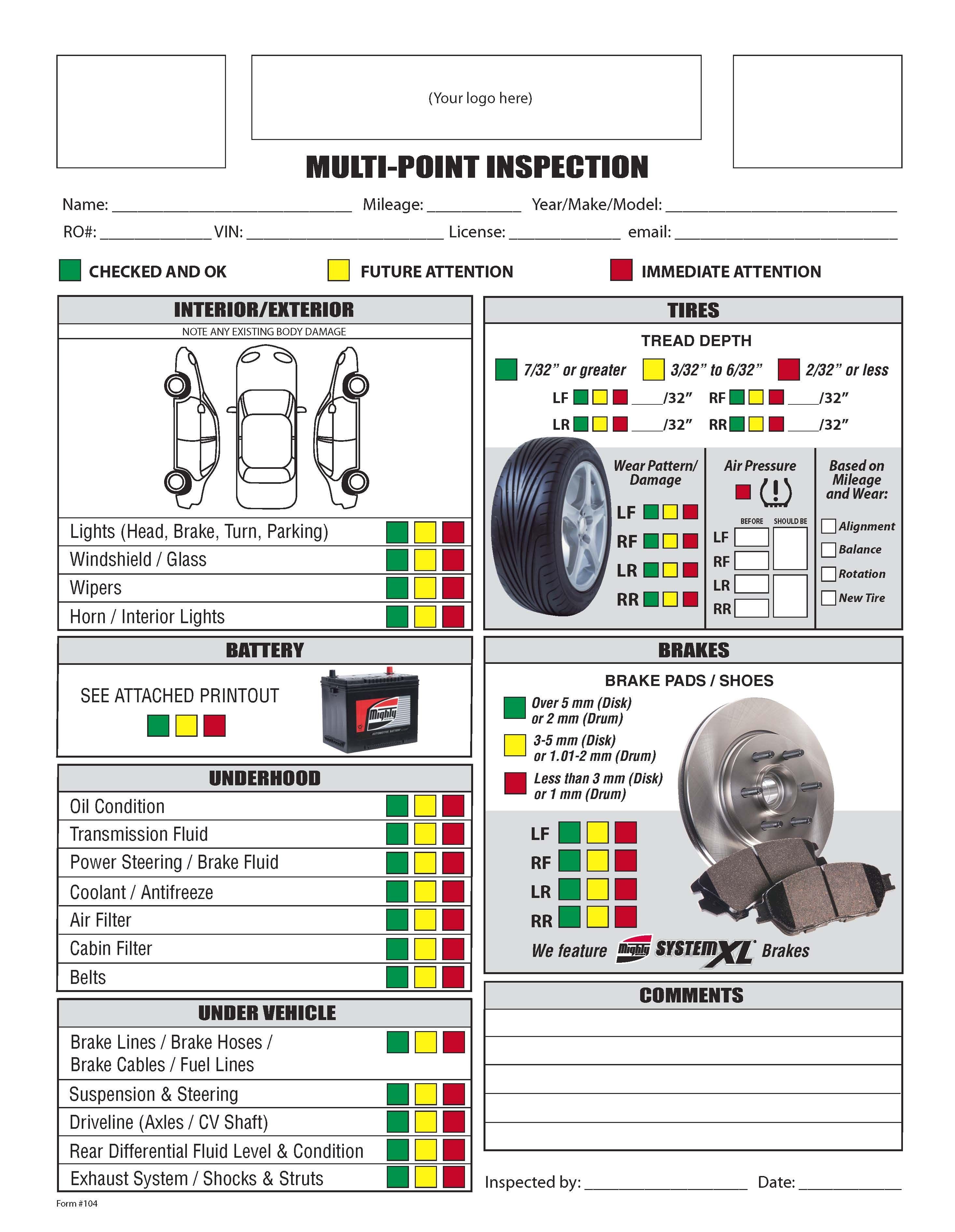 Automotive Repair Worksheet