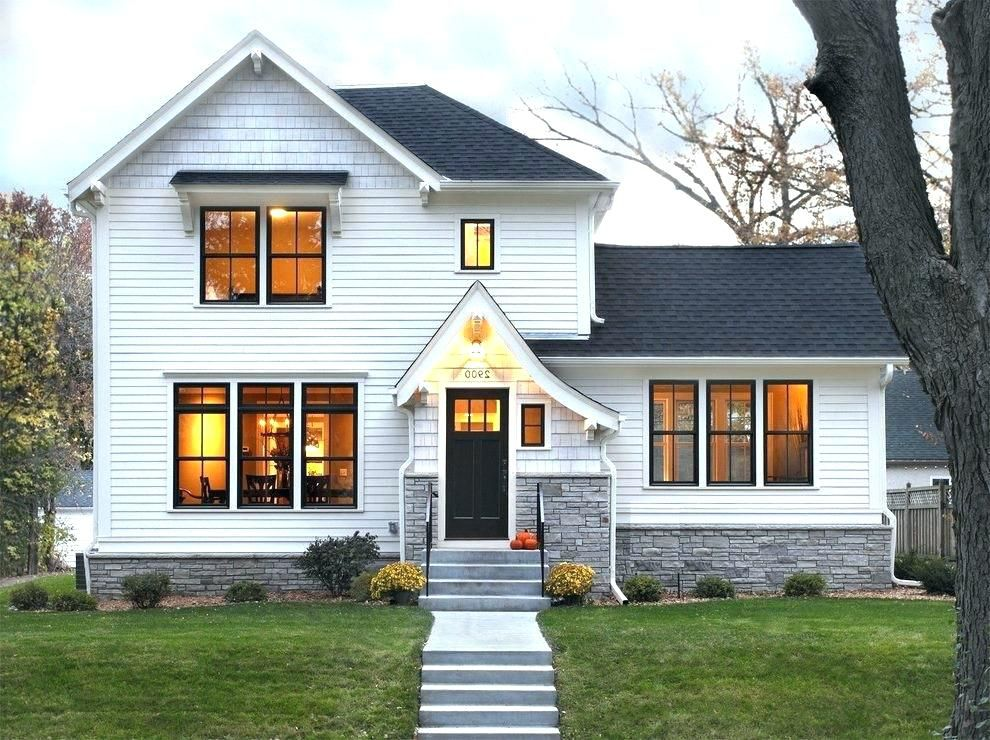 Black window white trim white house black windows - Houses with black windows ...