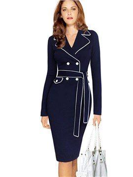 Anzug Kragen Langarm Tageskleid | Kleider, Modestil ...