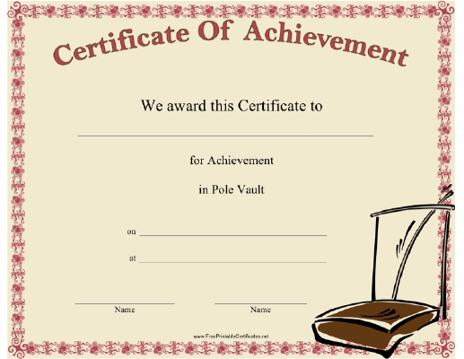 This Pole Vault Achievement Certificate Features A Vaulting Pole, The  Standards Holding The Bar, And The Landing Pit. Ideal For Winners Or  Participants In ...