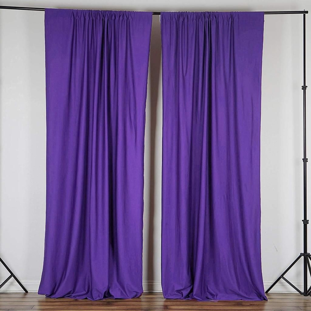 10 Feet X 10 Feet Purple Polyester Poplin Backdrop Drape Curtains Photography Decor 1 Pair Purple Curtains Panel Curtains Curtain Backdrops