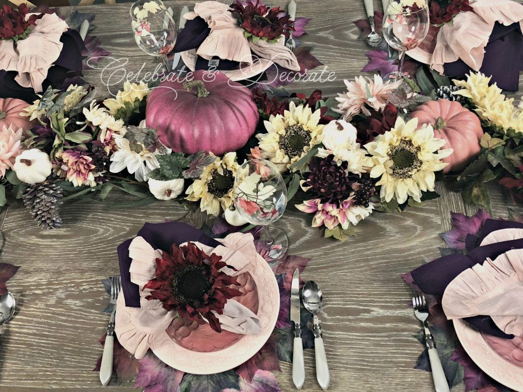 Fall Tablescape in Plum and Pink | Tablescapes, Fall table ...