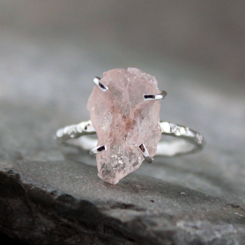Morganite Ring Raw Uncut Rough Sterling Silver Handmade And Designed By A Second Time Via Etsy