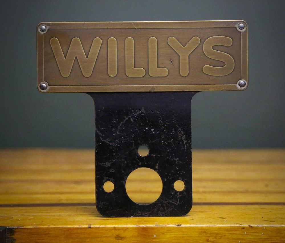Rare Willys Overland Brass Metal Jeep License Plate Topper Sign