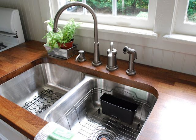 How gorgeous are these stained butcher block countertops? And the ...