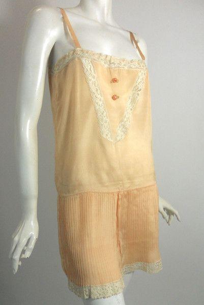 Flirty Peach Silk Envelope Chemise with Pleats circa 1920s