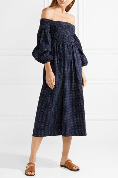 Carnival Off-the-shoulder Cotton-jacquard Midi Dress - Midnight blue The Great. WSqs6P