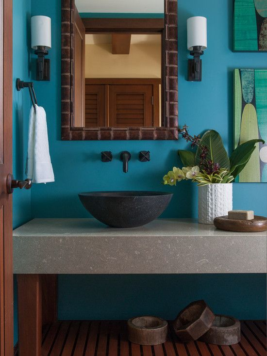 Create the tropical bathroom of your dreams with bright blue. | Diy on caribbean colors and decorating, caribbean style bathrooms, caribbean party themes, caribbean wedding themes, caribbean bar themes, caribbean luxury bathrooms,