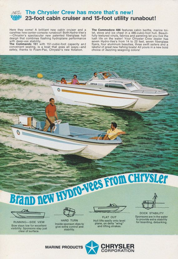 Chrysler Hydrovees Boats Ad 23-Foot Cabin Cruiser & 15-Foot Utility ...