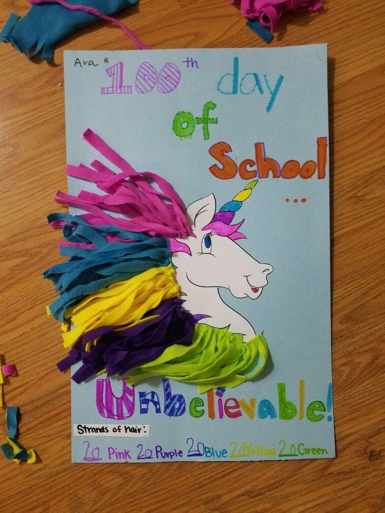 100days Of School Idea Kindergarten Unicorn 100 Days