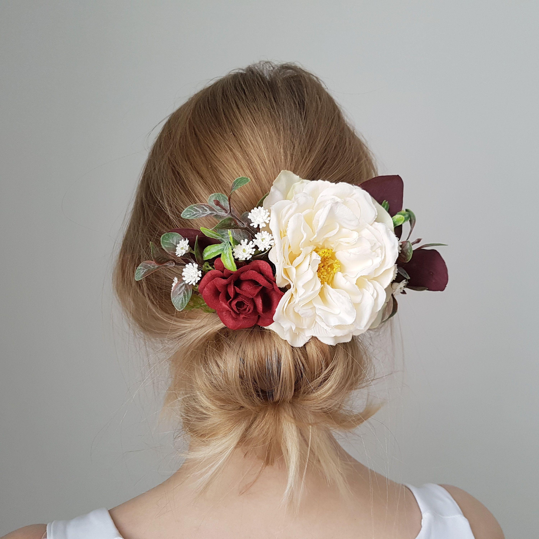 Burgundy beige flower headpiece burgundy bridal flower