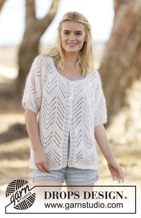 """Knitted DROPS kimono with lace pattern in """"Alpaca"""" and """"Kid-Silk ..."""