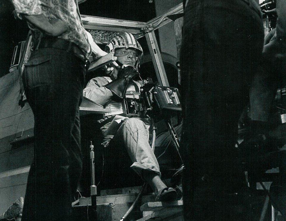 ANH BTS shot showing actor Drewe Henley in the cockpitt of an X-wing fighter