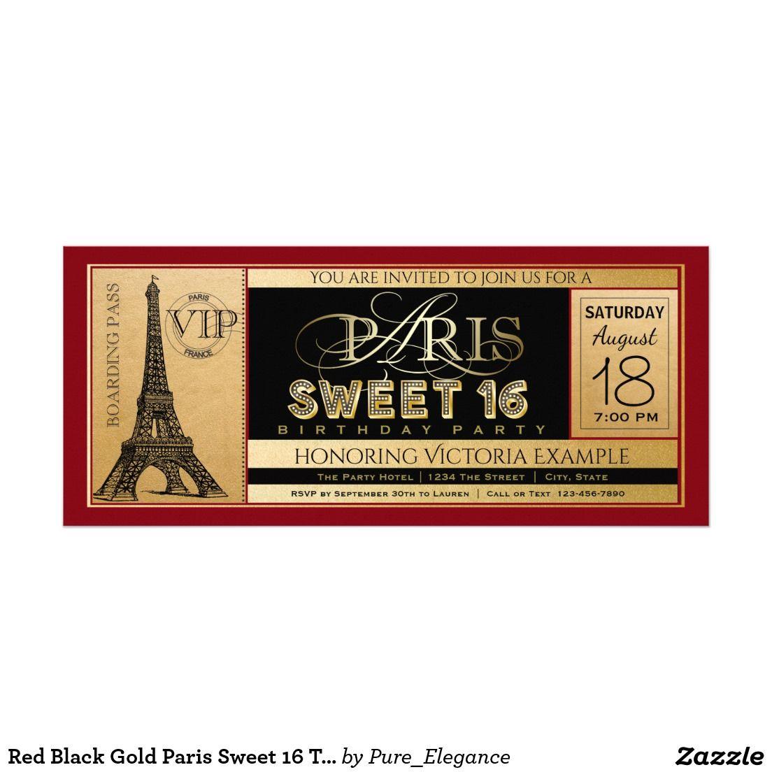 Red Black Gold Paris Sweet 16 Ticket Invitation   Paris sweet 16 ...