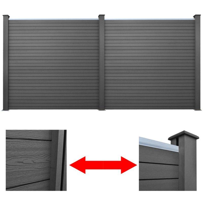 2 paneles de valla de wpc para jardn gris 392 cm jardines y