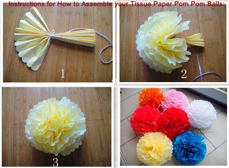 how to make crepe paper pom poms for kids