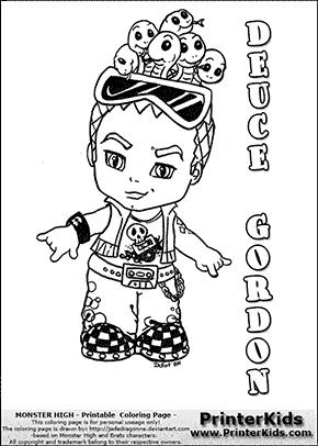 cute monster high coloring pages | Baby Monster High Coloring Pages | Monster High - Deuce Gordon Baby Chibi Cute - Coloring Page ...