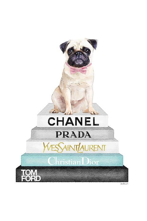 Grey And Teal Bookstack Topped By Pug Canva Amanda Greenwood Icanvas Chanel Wall Art Chanel Art Chanel Wallpapers