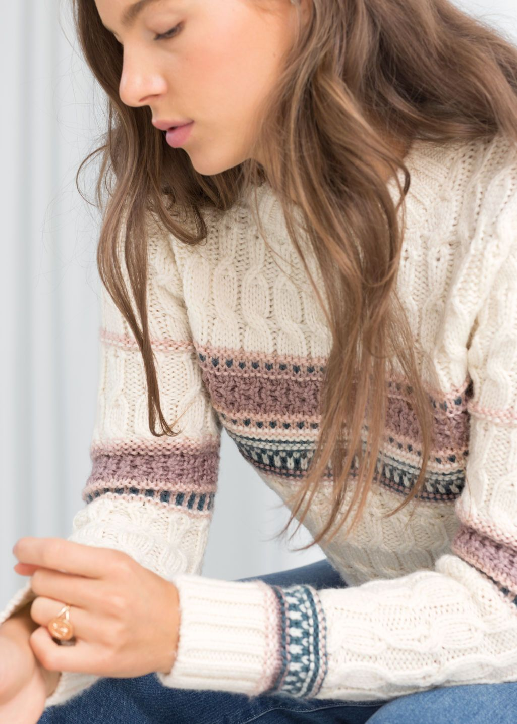 05956f738 Model back image of Stories cropped cable knit sweater in white