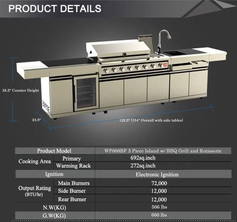 Island Bbq Grill Outdoor Kitchen W Wine Cooler Sink 3 Piece 304 Stainless Steel Combo Outdoor Kitchen Outdoor Kitchen Patio Bbq Grill