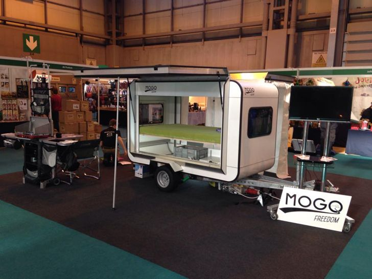Tiny Mogo Freedom Trailer Transforms Into A Camper For Two Camper Lightweight Trailers Trailer Tent