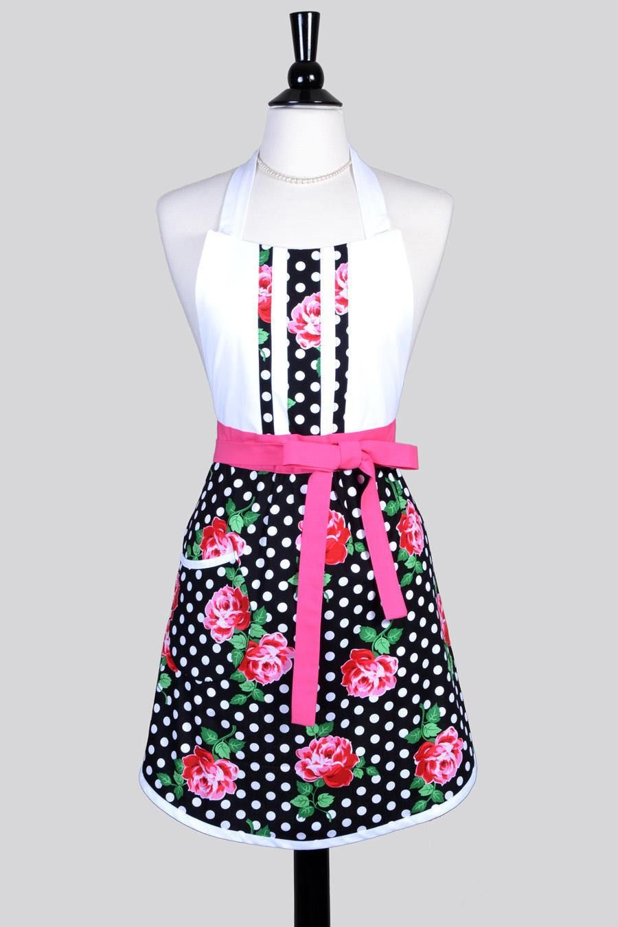Black and white kitchen apron