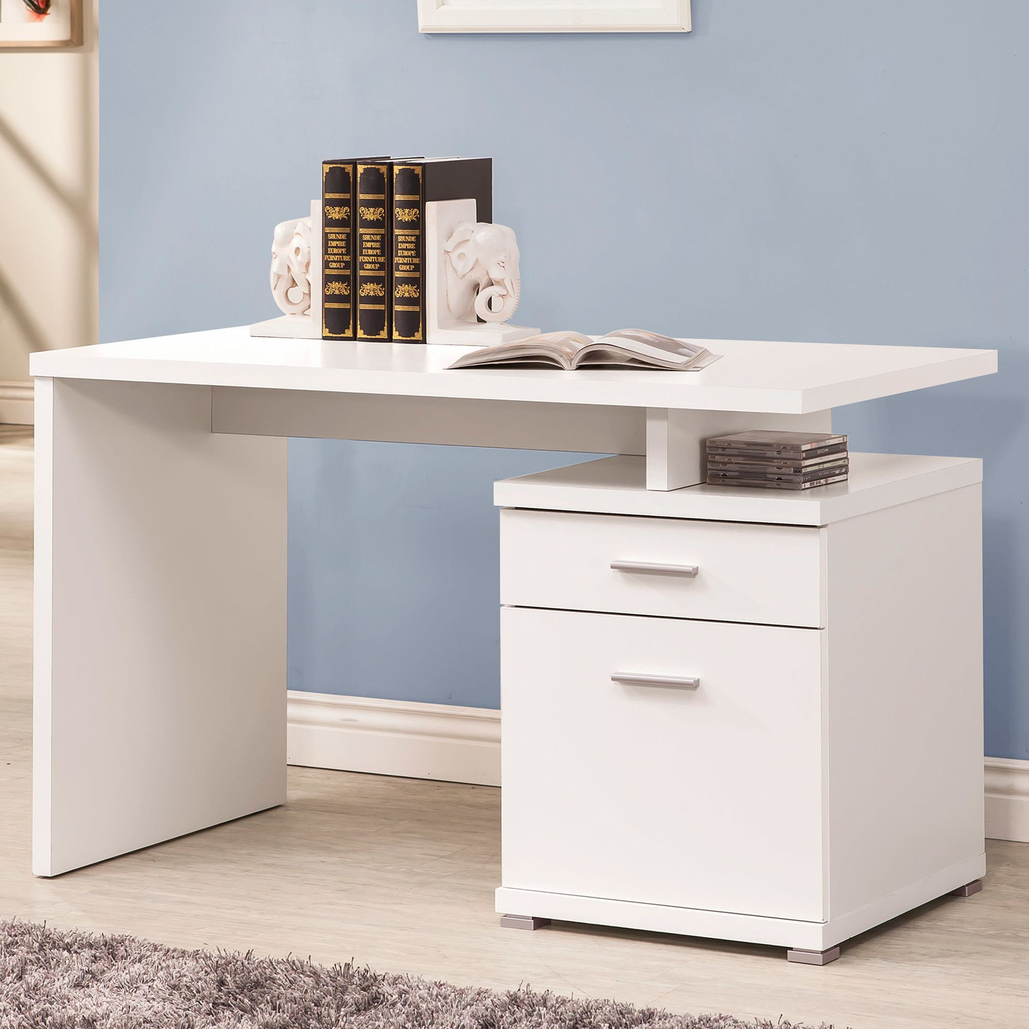 179 99 Each Wayfair Get 2 One For Sewing Machine Drawers Can Be Flipped Or Mirrored When 2 Put Together With Images Computer Desks For Home White Wooden Desk Furniture