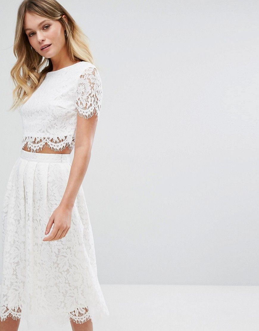 1598d7ca09 New Look Lace Scallop Top And Midi Skirt Co Ord | Saddha