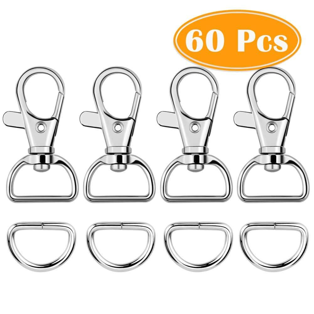 """Paxcoo 60Pcs Swivel Snap Hooks and D Rings for Lanyard and Sewing Projects 1/"""" Inside Width"""