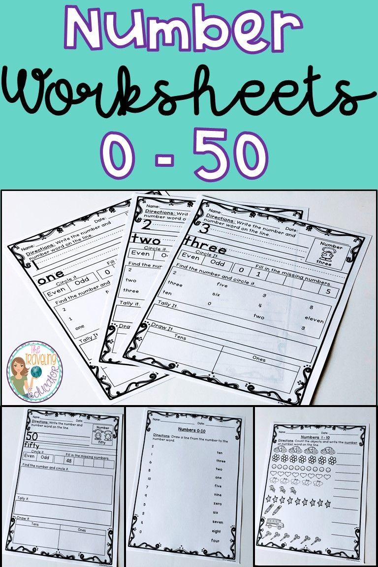 Number Worksheets 0-50 | Number worksheets, Printable numbers and ...