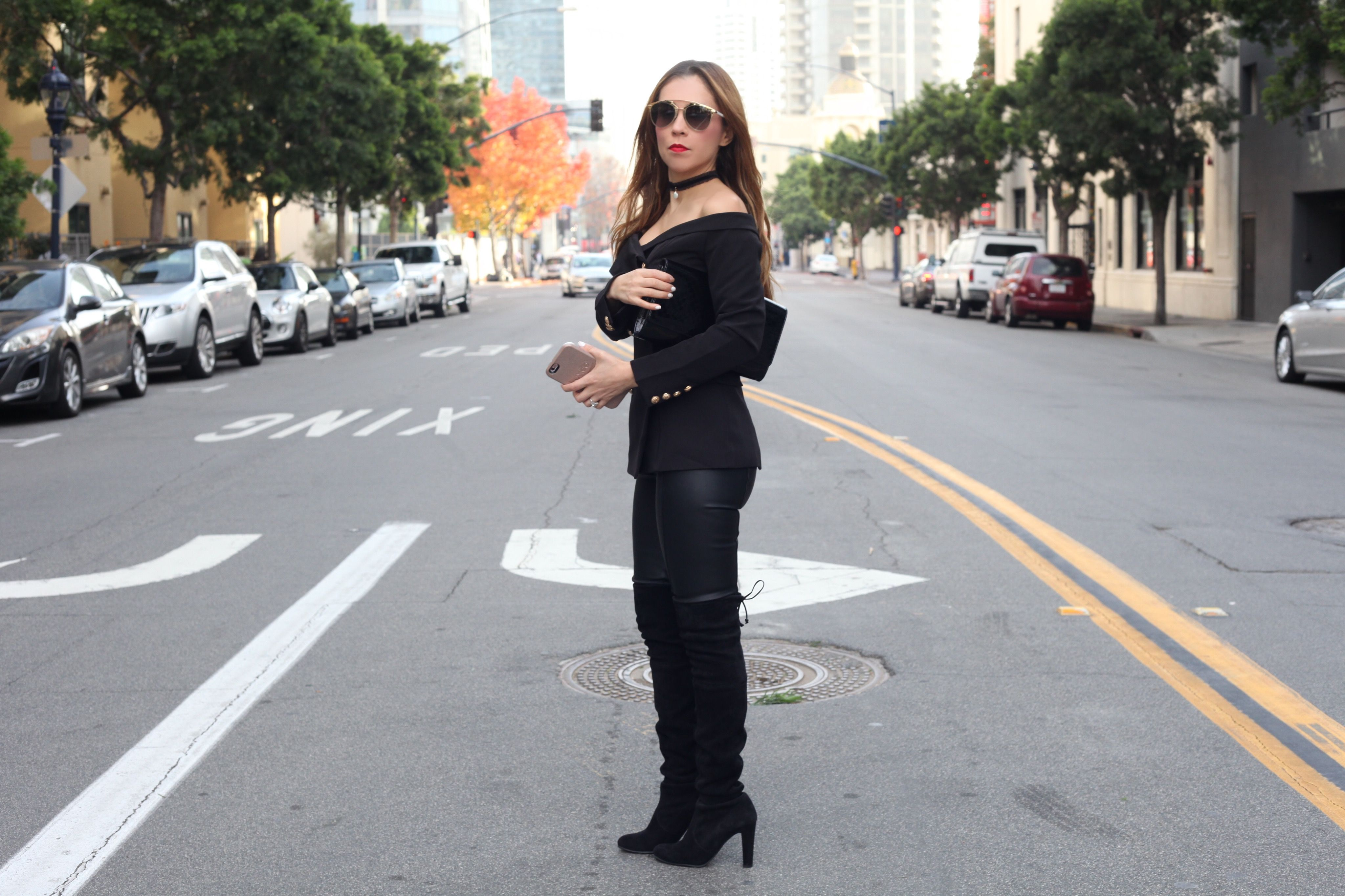 www.streetstylecity.blogspot.com  Fashion inspired by the people in the street ootd look outfit sexy high heels legs woman girl leather leggings pants otk boots knee high