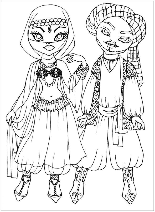 разукраски обучающие Национальные костюмы, арабская одежда ...