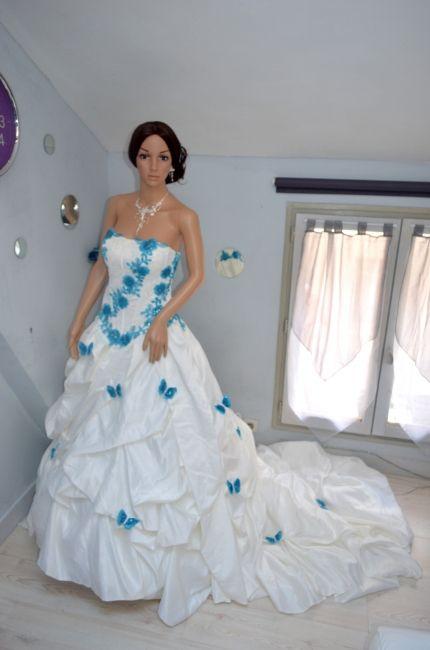 robe de mariée turquoise et blanc - Recherche