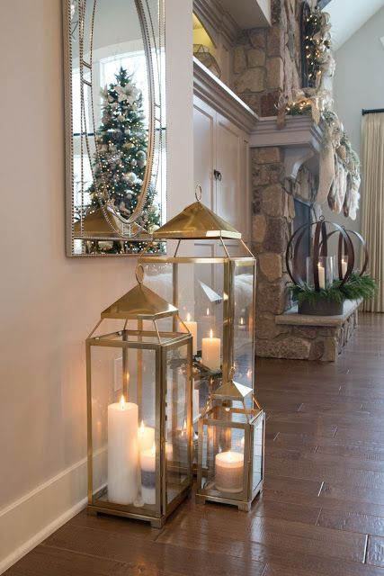 Real Fit Housewife Christmas With The Kortes The Tree Reflecting In That Mirror With Those Lanterns Lantern Decor Living Rustic Bedroom Design Home Decor