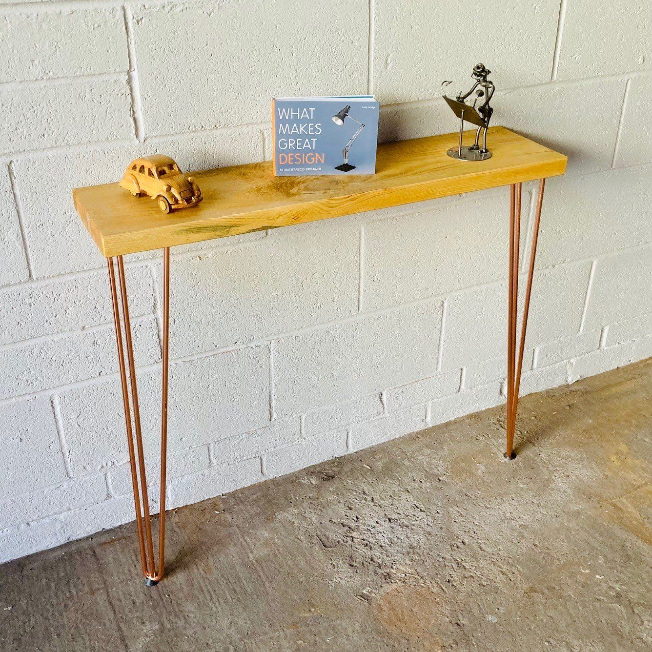 Console Table/Radiator Table 120cm x 22cm Industrial Urban Contemporary With Metal Hairpin Legs - White / Light Oak / 120cm