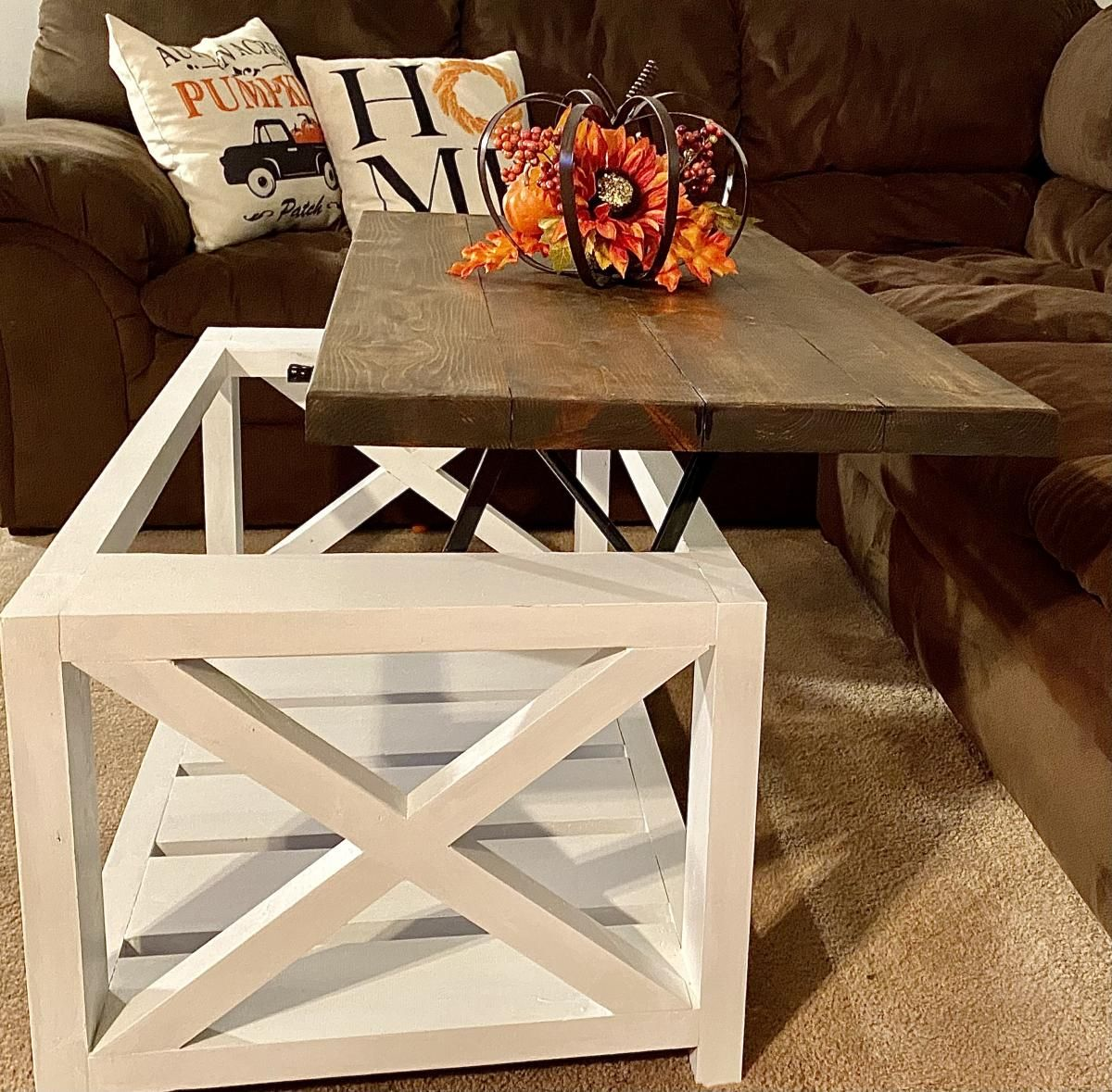 Rustic X And Lift Top Coffee Table Collaboration Ana White Lift Top Coffee Table Table Coffee Table [ 1179 x 1200 Pixel ]