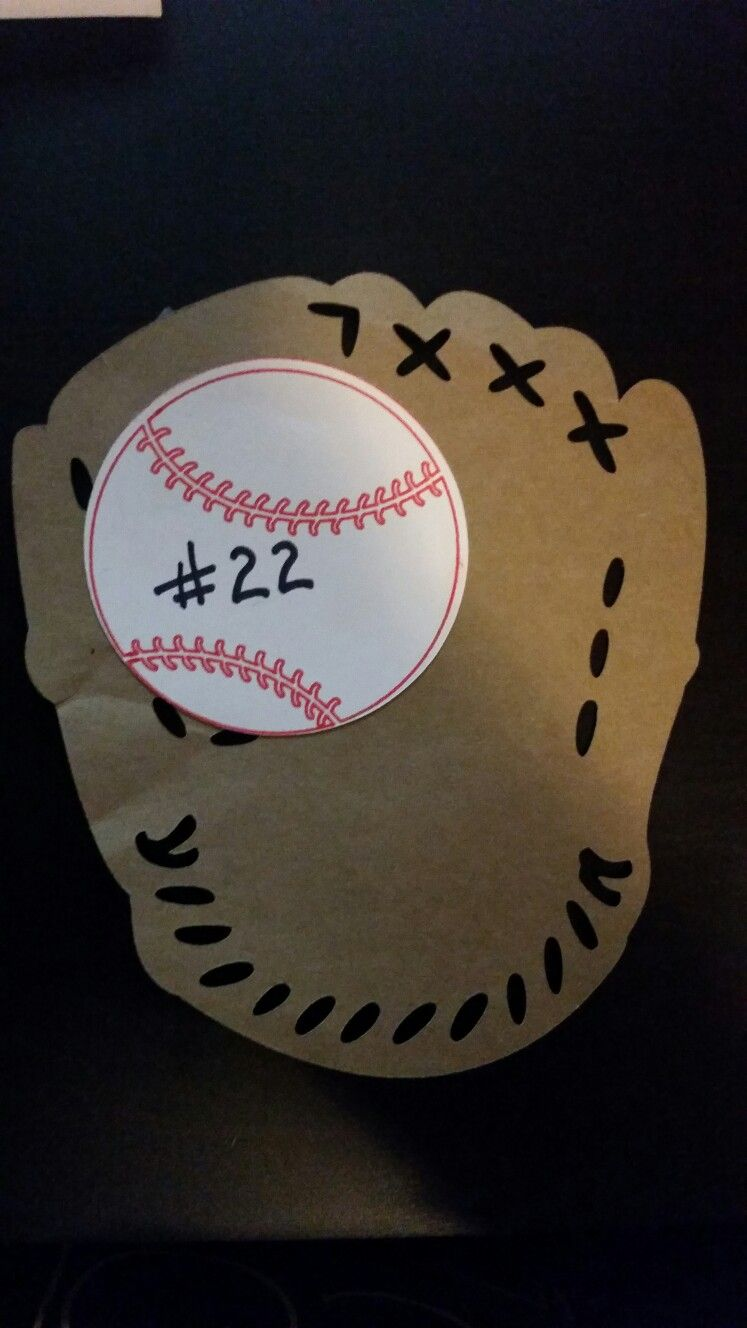 Baseball locker decoration using cricut. Baseball glove