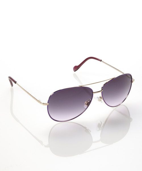 Jessica Simpson Collection Purple & Gold Pilot Sunglasses by Jessica Simpson Collection #zulily #zulilyfinds
