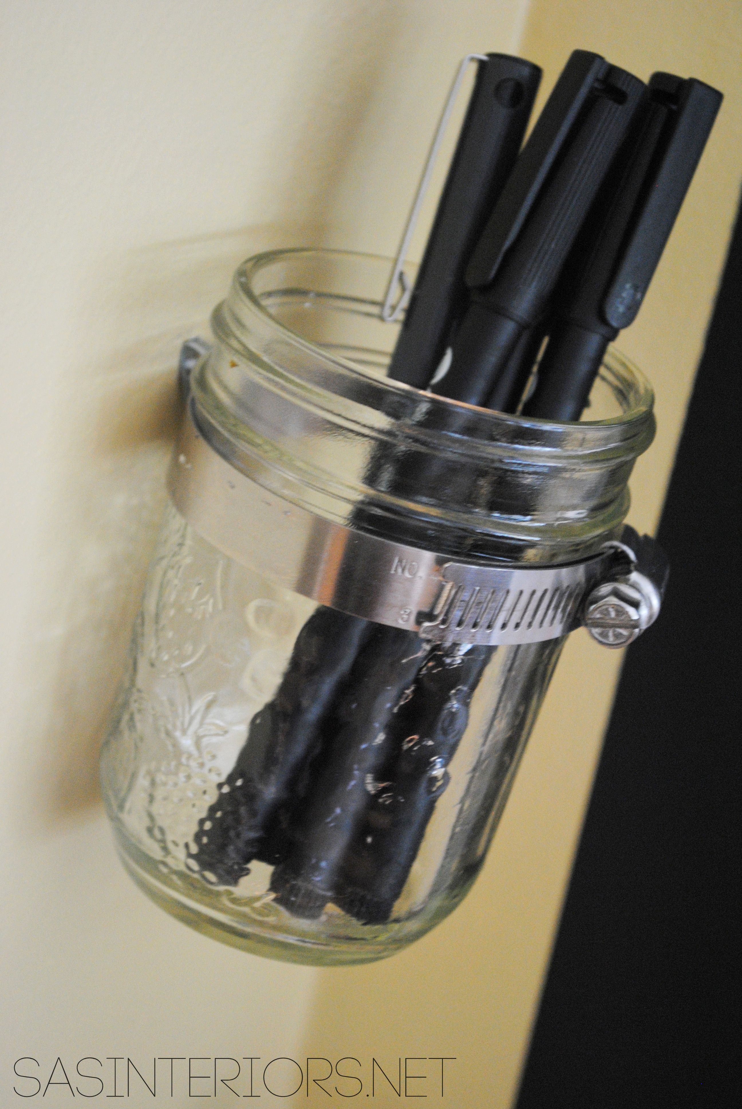 Simple DIY Glass Jar Pen Holder - could also be used for q-tips or