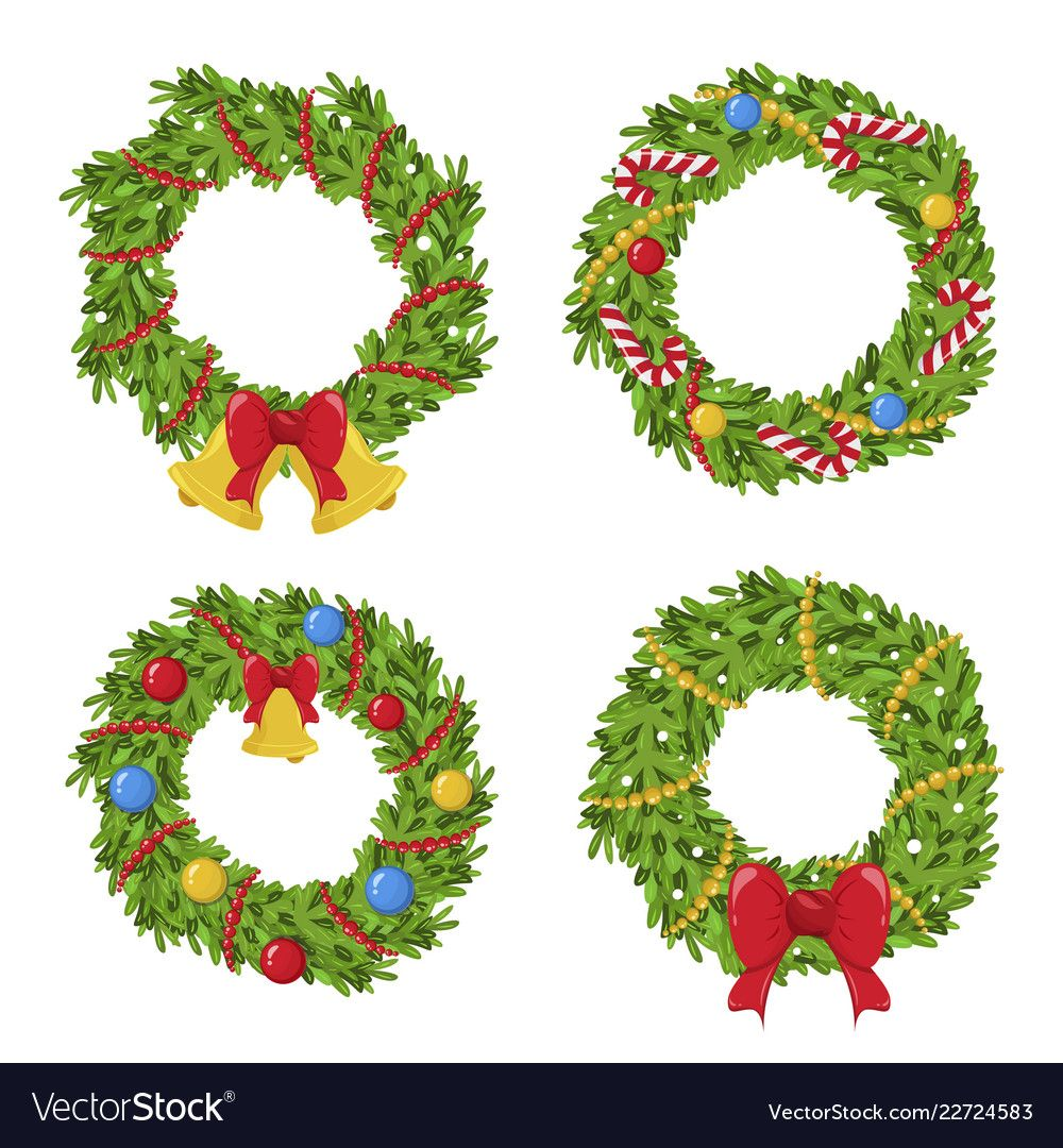 Christmas green wreath holiday decoration and garland